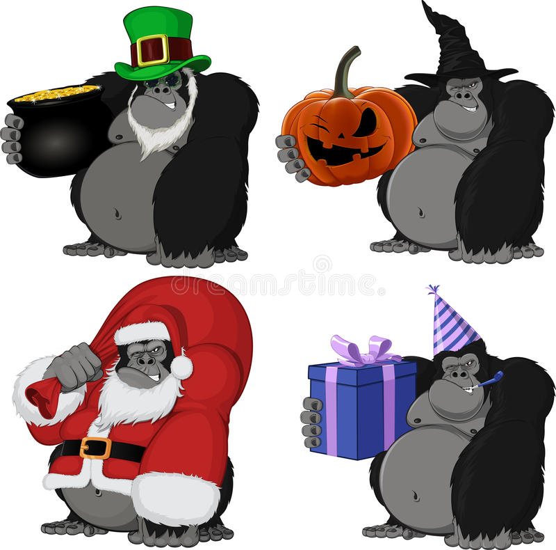 Download Setu 4 śmieszny goryl ilustracja wektor. Ilustracja złożonej z pokrętny - 57670817