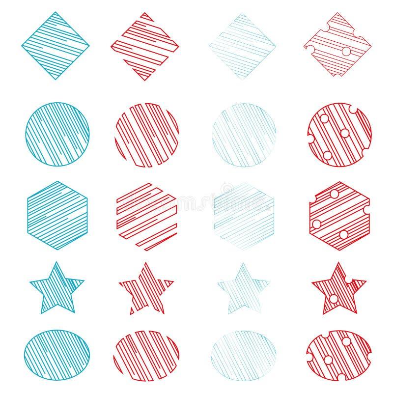 Setu 20 Ogólnoludzcy Geometryczni kształty czerwie? i b??kitny kolor ilustracji