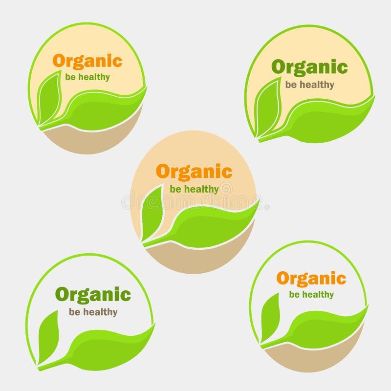 Setu pięć wersja żywność organiczna logowie dla sieci i mobilnego projekta ilustracji