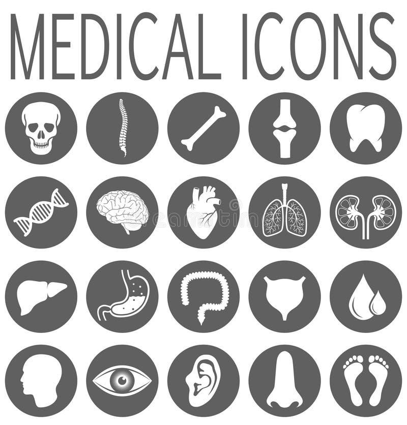 Setu round odosobnione medyczne ikony ilustracja wektor