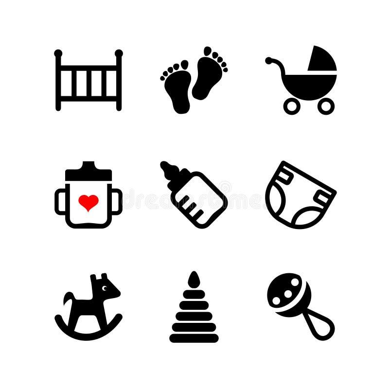 Setu 9 sieci ikona. Dziecko, osesek, dziecko ilustracja wektor