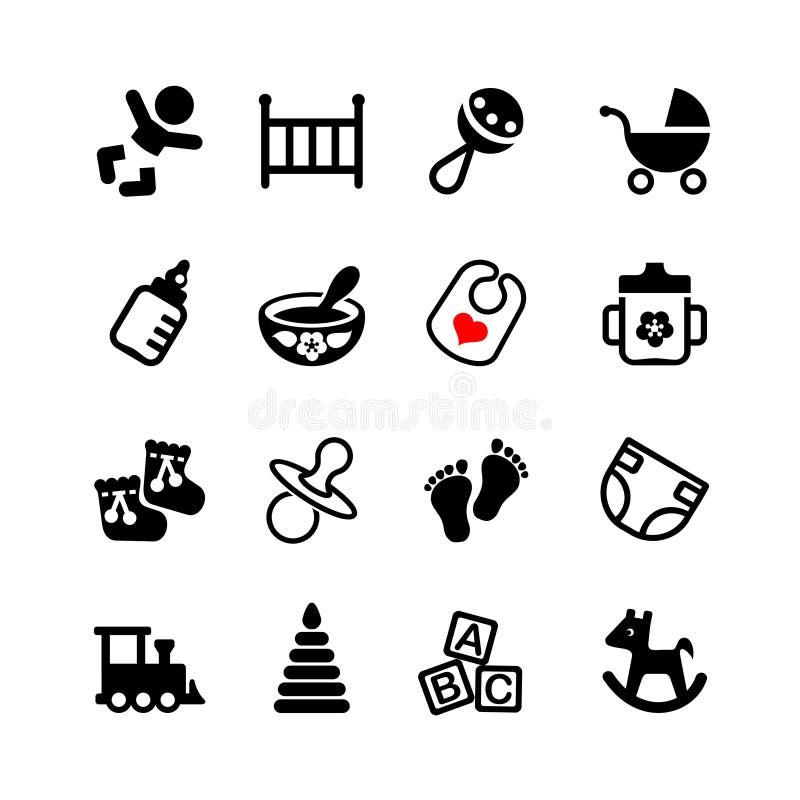 Setu 16 sieci ikona. Dziecko, osesek, dziecko ilustracja wektor