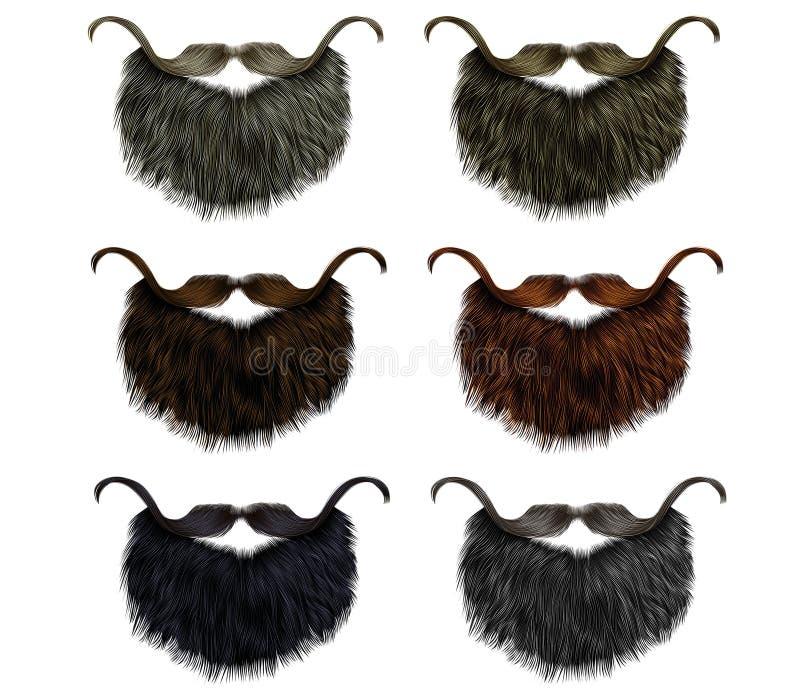 Setu wąsy i brody dłudzy różni kolory mody piękna sty ilustracja wektor