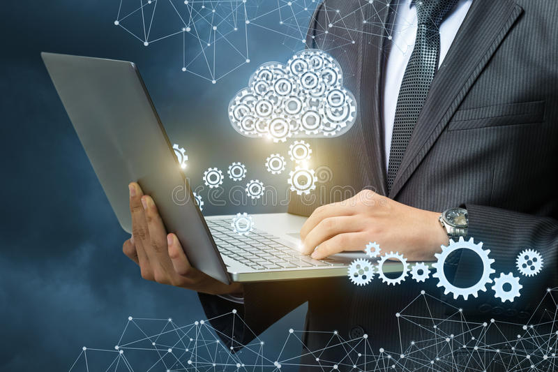 Setup data transfer from the cloud to the laptop. royalty free stock image