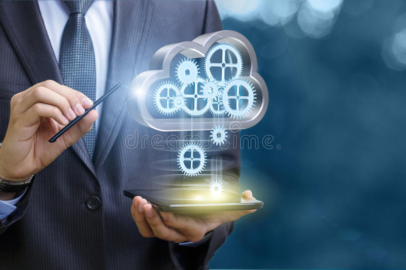 Setup data transfer from the cloud to the mobile computer . stock photography