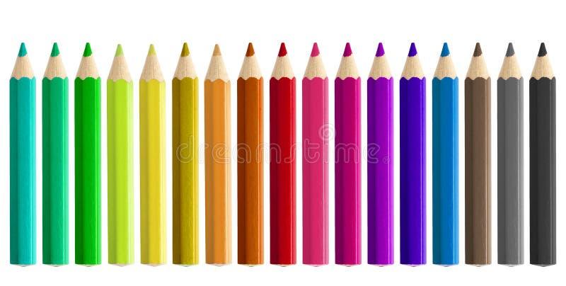 Sety coloured ołówki odizolowywający obraz stock