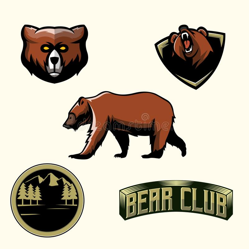 Sety Niedźwiadkowy Ilustracyjny logo wektor ilustracji