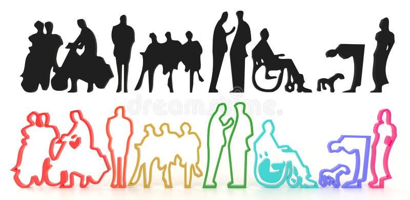 Sety sylwetka i kolorowi ludzie w 3D ilustracja wektor