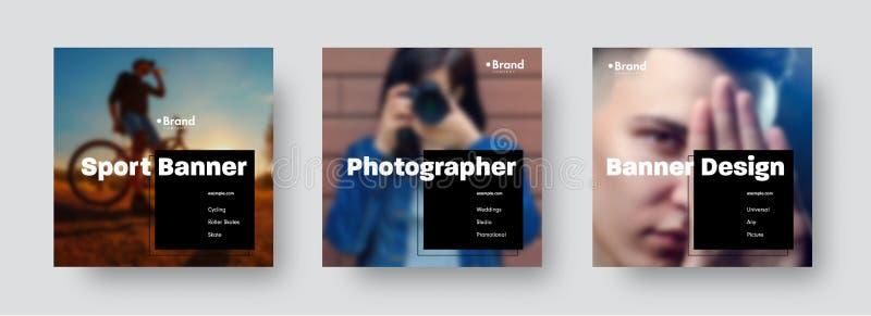 Sety wektorowi sztandary dla ogólnospołecznych sieci z miejscem dla fotografii i czarnego kwadrata dla teksta ilustracja wektor