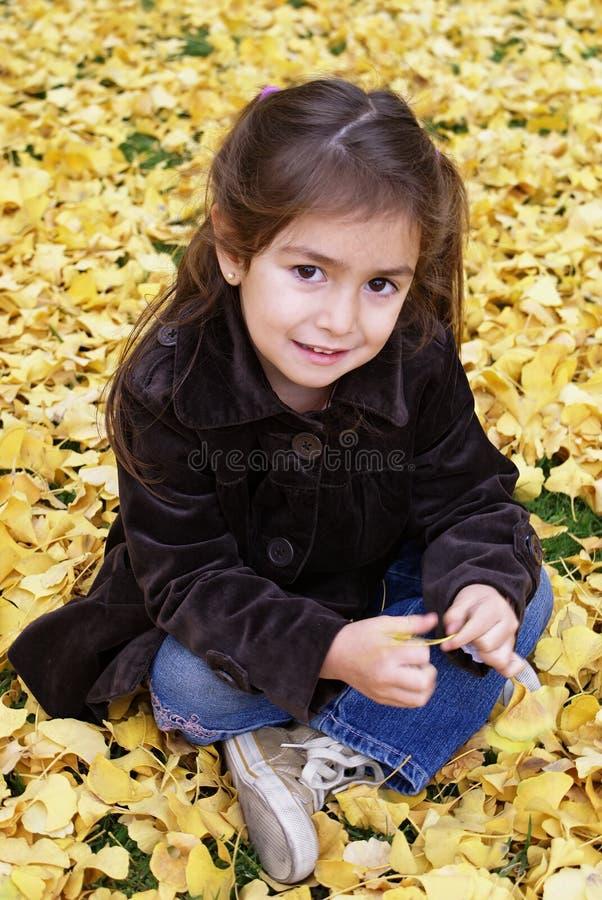 Setzen des kleinen Mädchens im Freien im Herbst stockfotos