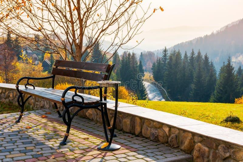 Setzen Sie auf einem Hügel in der schönen Herbstlandschaft auf die Bank lizenzfreies stockbild