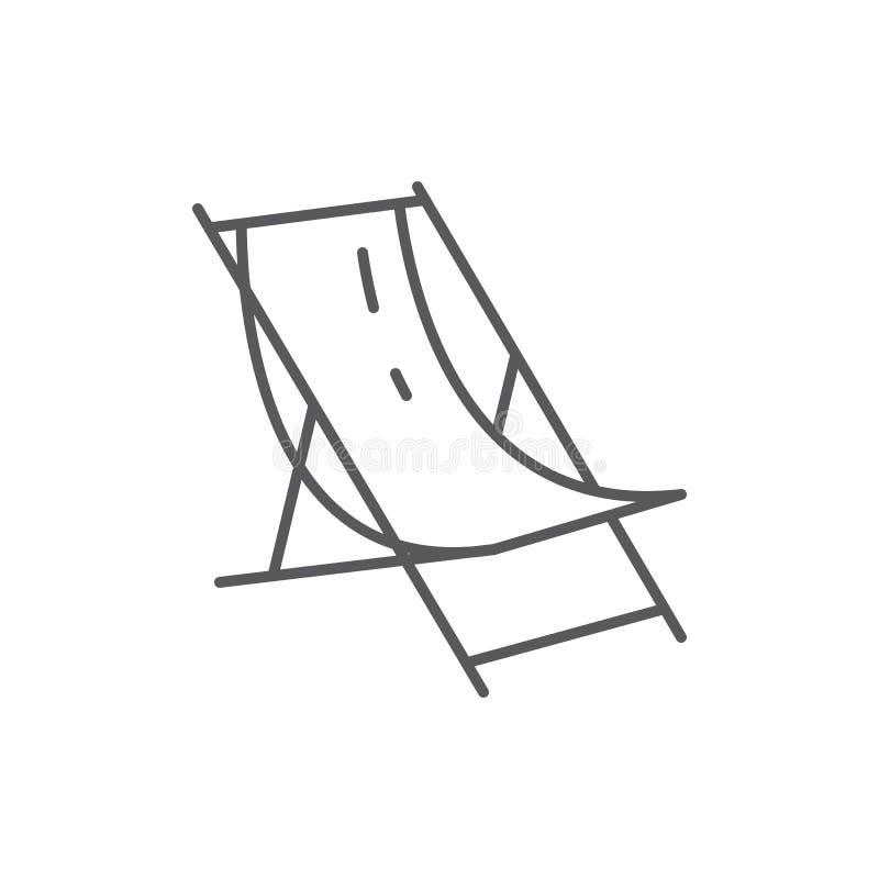 Setzen Sie Aufenthaltsraum für Sommerzeitferienthema - die editable Ikone auf den Strand, die auf weißem Hintergrund lokalisiert  lizenzfreie abbildung