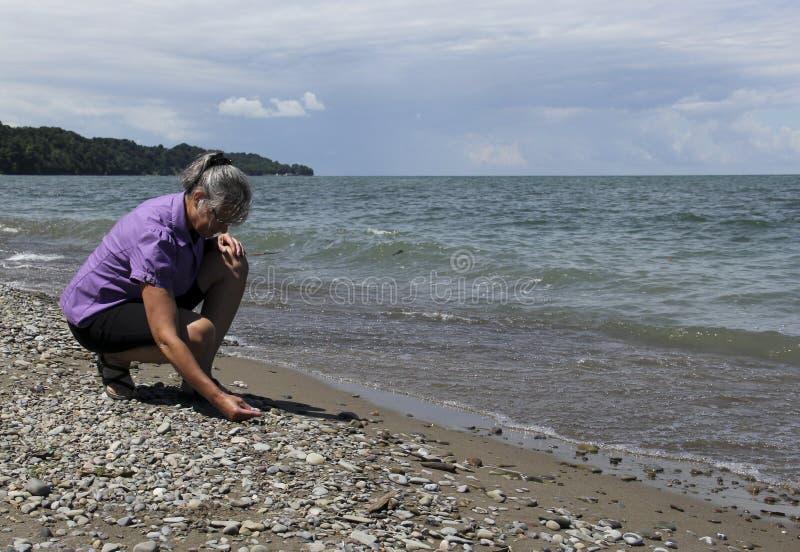Setzen Sie das Kämmen auf den Strand stockbild