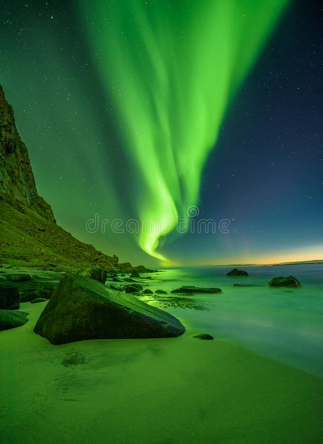 Setzen Sie in den Lofoten-Inseln in Norwegen mit Nordlichtern auf den Strand lizenzfreie stockbilder