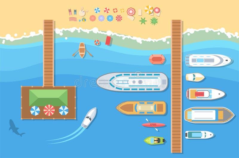 Setzen Sie Draufsicht - bunte Illustration des modernen Vektors auf den Strand stock abbildung