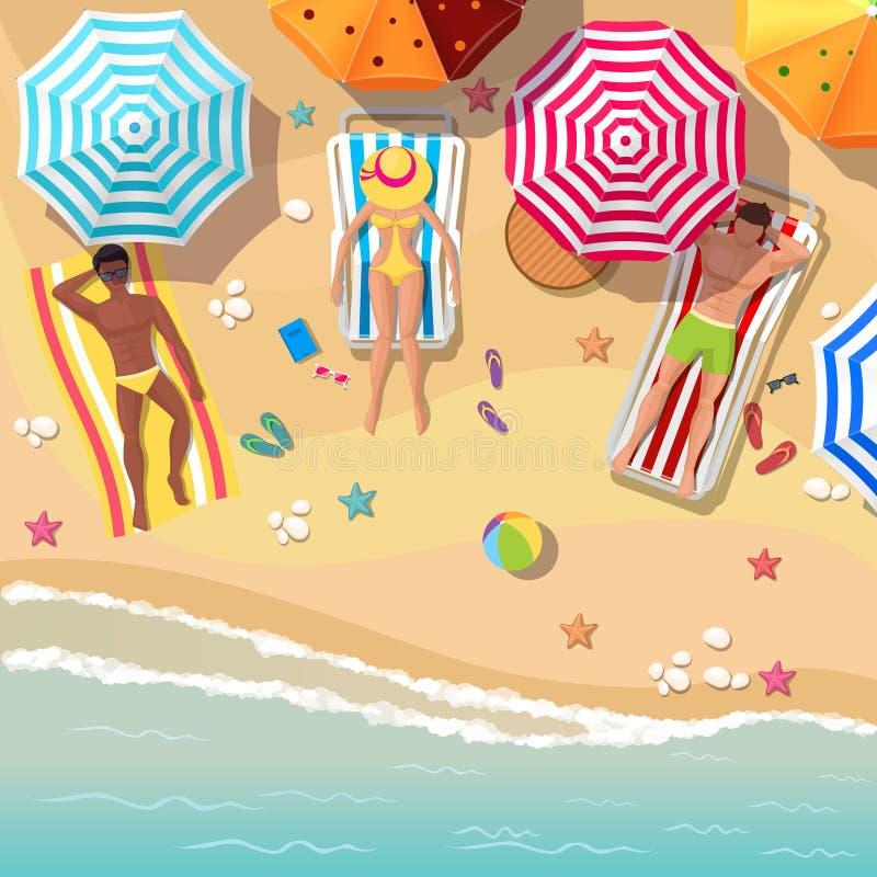 Setzen Sie Draufsichthintergrund mit Sunbathersmännern auf den Strand und vektor abbildung