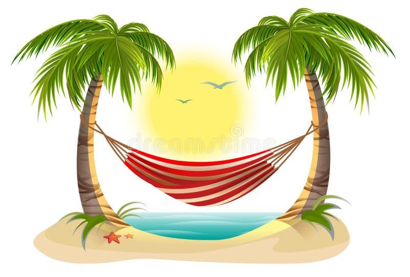 Setzen Sie Ferien auf den Strand Hängematte zwischen Palmen lizenzfreie abbildung