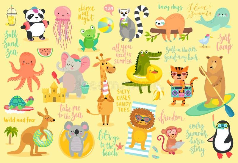 Setzen Sie gezeichnete Art der Tiere Hand, Sommersatz auf den Strand stock abbildung