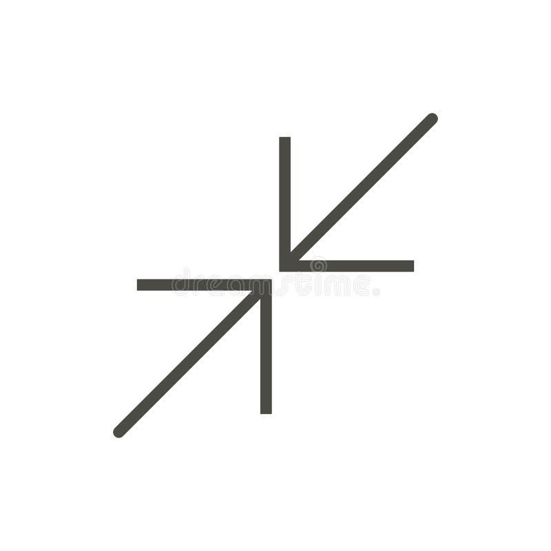 Setzen Sie Ikonenvektor herab Die Linie bestimmen Symbol lokalisiert die Größe neu Modisches flaches Entwurf ui Zeichendesign Dün stock abbildung