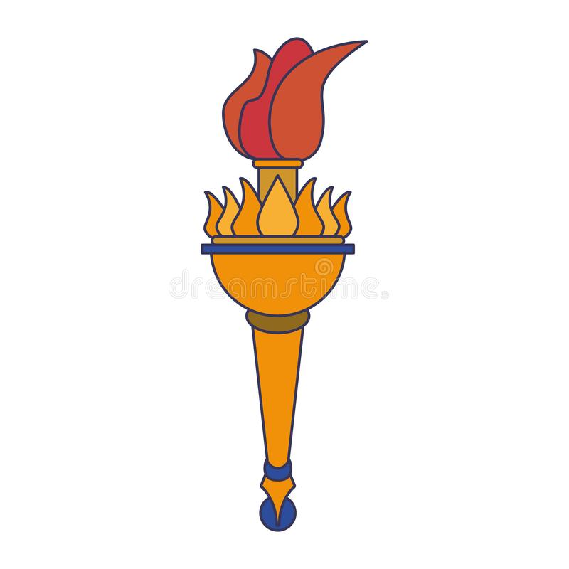 Setzen Sie Karikatur der olympischen Flamme des Feuers in Brand lizenzfreie abbildung