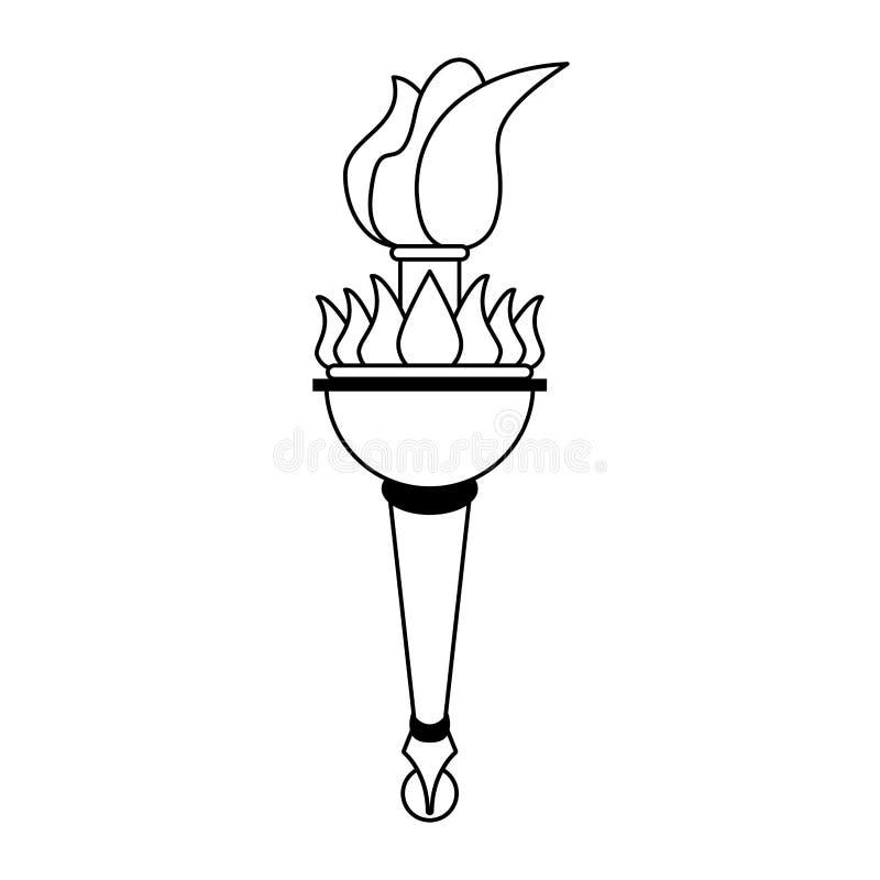 Setzen Sie Karikatur der olympischen Flamme des Feuers in Schwarzweiss in Brand vektor abbildung
