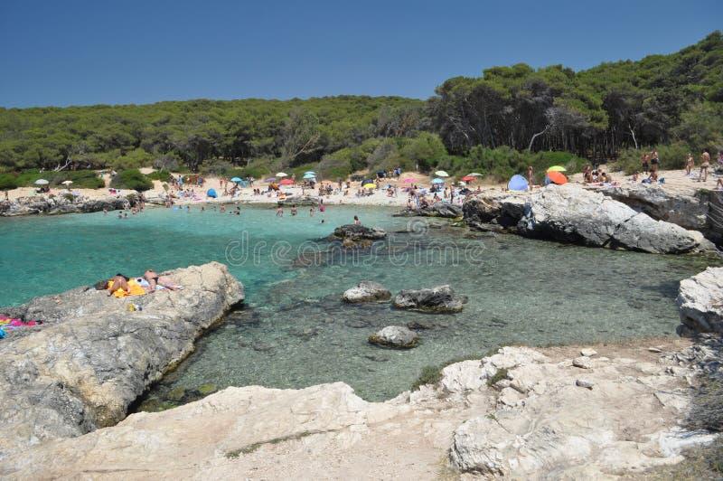Setzen Sie Landschaft, Porto Selvaggio, Apulien, Italien auf den Strand stockfotos