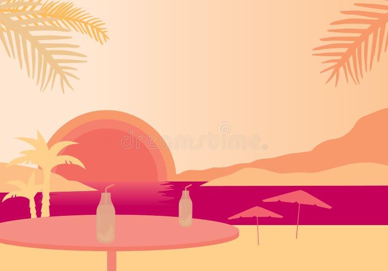 Setzen Sie mit Palmen, Sonnenschirme und mit Tabelle und Fruchtgetränk, darunter auf den Strand vektor abbildung