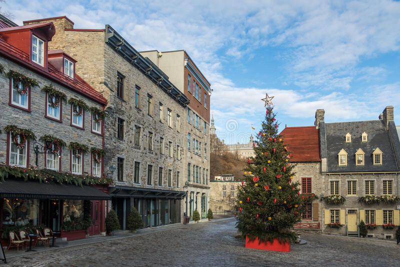 Setzen Sie Royale Royal Plaza, der für Weihnachten - Québec-Stadt, Quebec, Kanada verziert wird stockfoto
