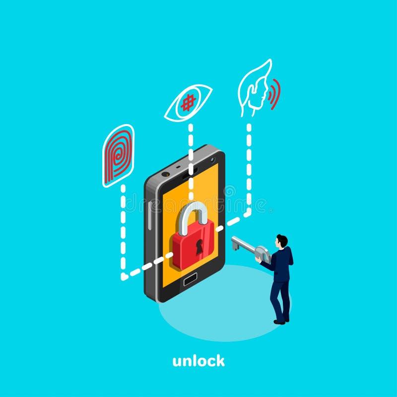 Setzen Sie Smartphone und Identitätssystem, einen Mann in einem Anzug mit einem Schlüssel in seinen Händen frei vektor abbildung