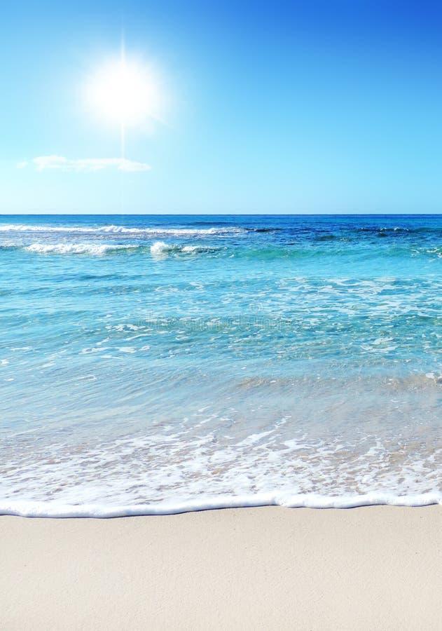 setzen sie szene mit sonne meer und sand auf den strand. Black Bedroom Furniture Sets. Home Design Ideas