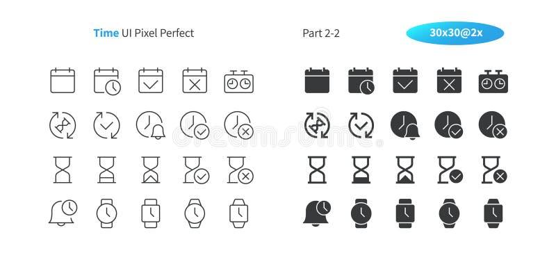 Setzen Sie Zeit UI-Pixels fest, das perfekter Gut-in Handarbeit gemachter Vektor dünn und festes Gitter 2x der Ikonen-30 für Netz vektor abbildung