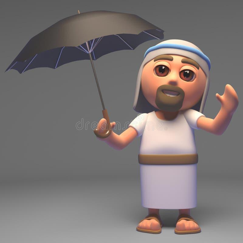 Seu chover assim o filho do deus, Jesus Christ usa seu guarda-chuva, ilustração 3d ilustração royalty free