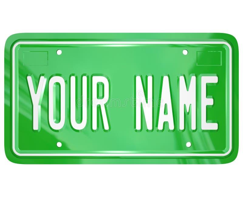 Seu emblema personalizado matrícula da vaidade do nome ilustração royalty free