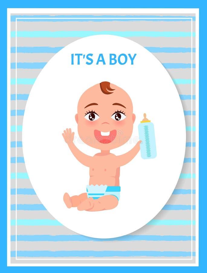 Seu infante feliz do quadro oval do cartaz do menino no tecido ilustração stock