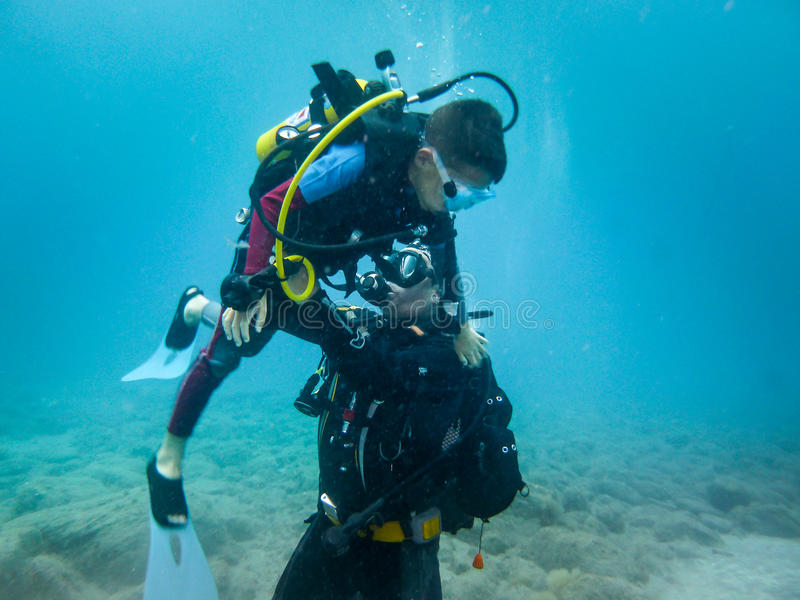 Seu primeiro mergulho II imagem de stock