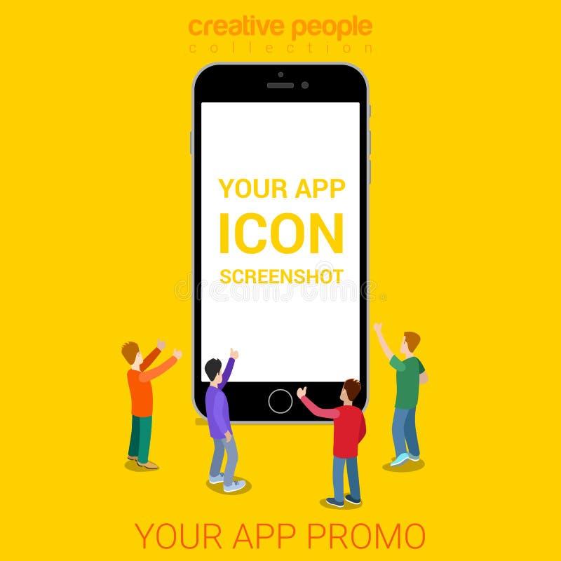 Seu vetor isométrico liso do smartphone móvel da mostra do modelo do app ilustração stock