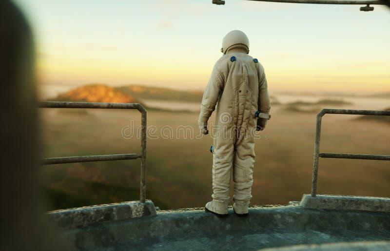 Seul astronaute sur la planète étrangère Martien sur à base métallique Futur concept rendu 3d illustration de vecteur