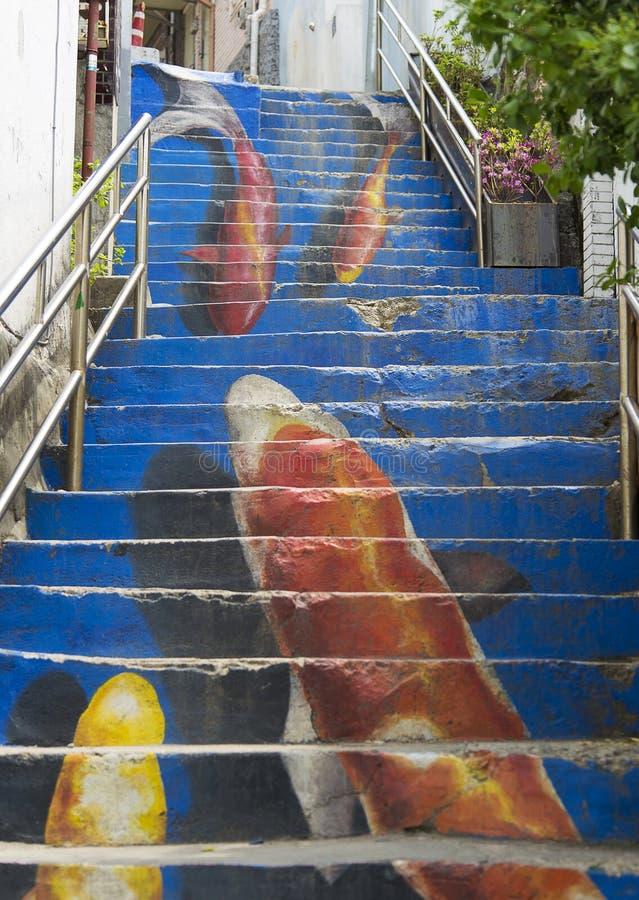 Seul, Corea del Sur - 6 de mayo de 2015: La escalera de Koi de la MUR de Ihwa imágenes de archivo libres de regalías