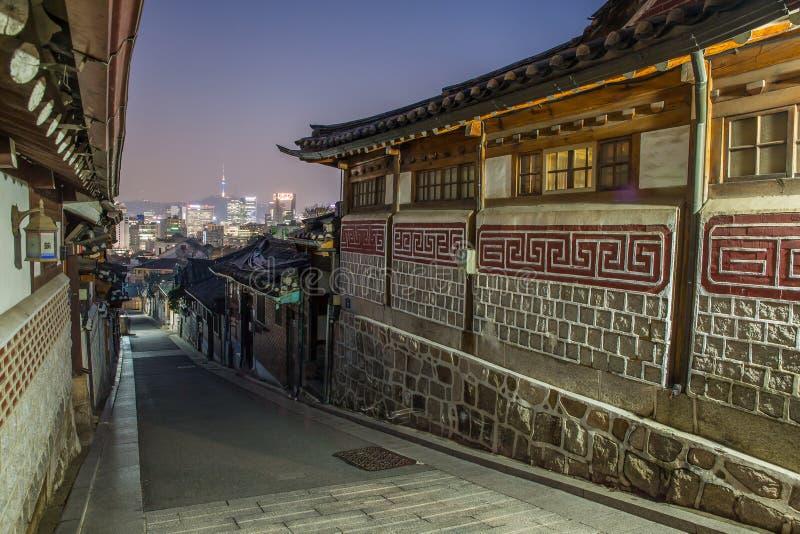 Seul, Corea del Sur en el distrito histórico de Bukchon Hanok imágenes de archivo libres de regalías