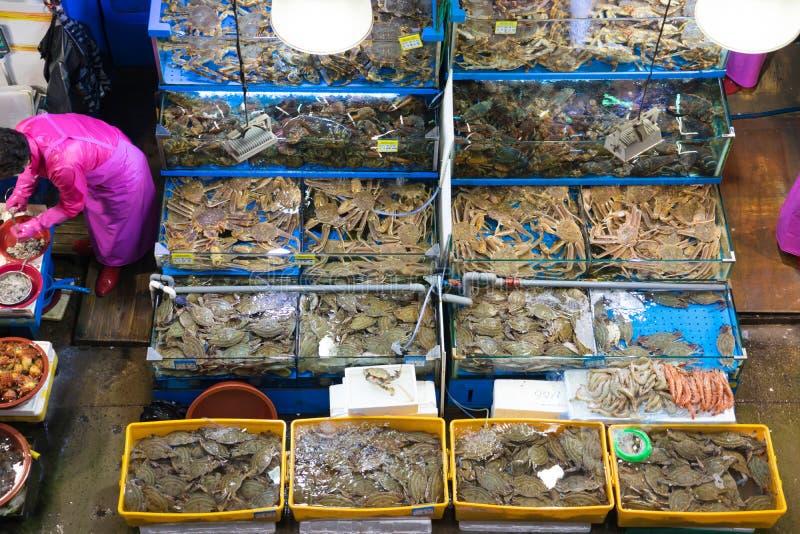 Seul, Corea del Sur, puede 15, 2017 Mercado de pescados de Noryangjin foto de archivo