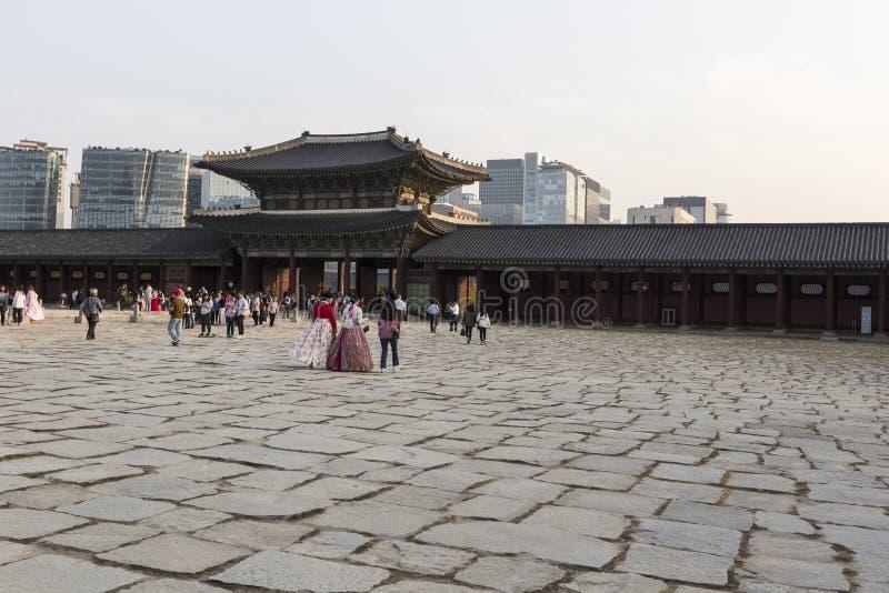 SEUL - 21 DE OCTUBRE DE 2016: Palacio de Gyeongbokgung en Seul, Corea fotos de archivo libres de regalías