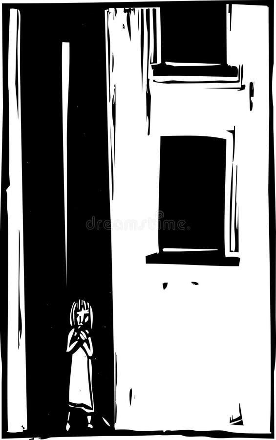 Seul enfant dans la ruelle illustration de vecteur