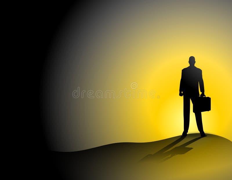 Seul homme d'affaires sur la côte de coucher du soleil illustration de vecteur