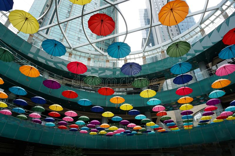 Seul korei południowej centrum miasta wzrosta sztuki Wysoka instalacja obrazy stock