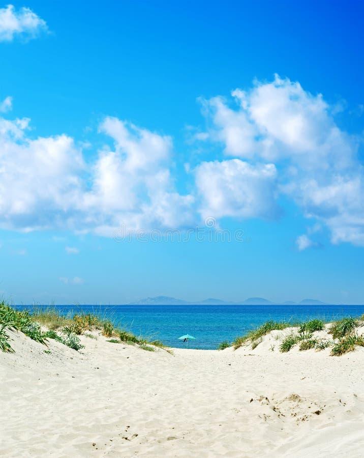 Seul parapluie de plage sous le ciel bleu photographie stock libre de droits