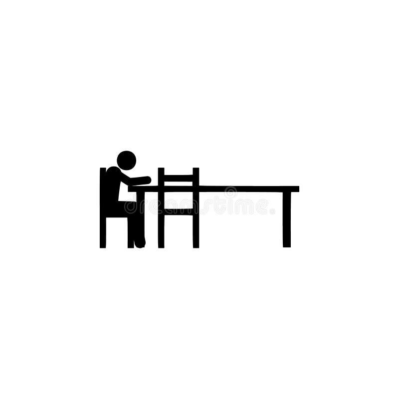 seul se reposant, icône d'affaires Élément d'icône de position d'assise pour des applis mobiles de concept et de Web Seul le Glyp illustration stock