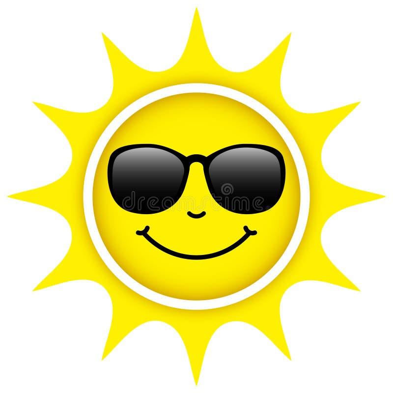 Seul Sun jaune d'isolement avec le visage heureux de lunettes de soleil illustration de vecteur