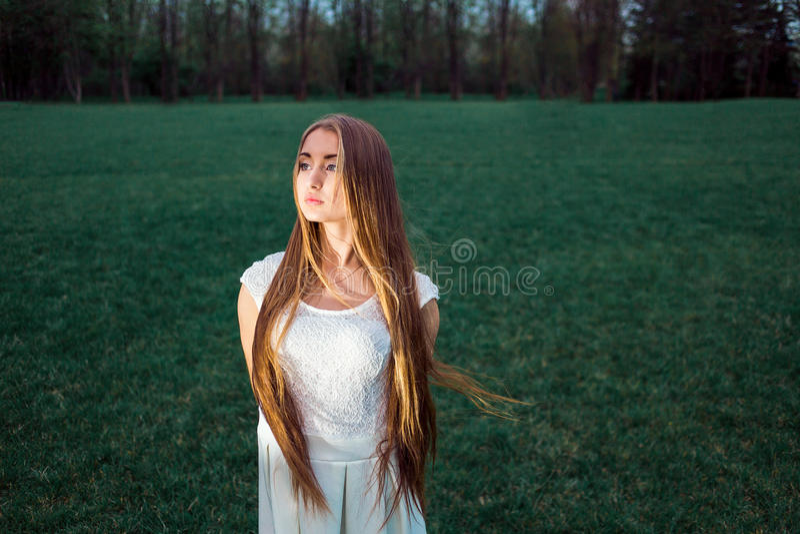 Seule belle jeune femme blonde en parc mystique de soirée image libre de droits