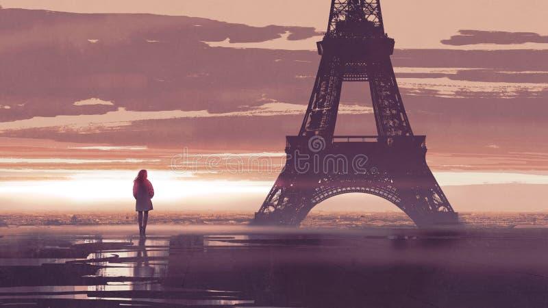 Seule femme à Paris à l'aube illustration stock