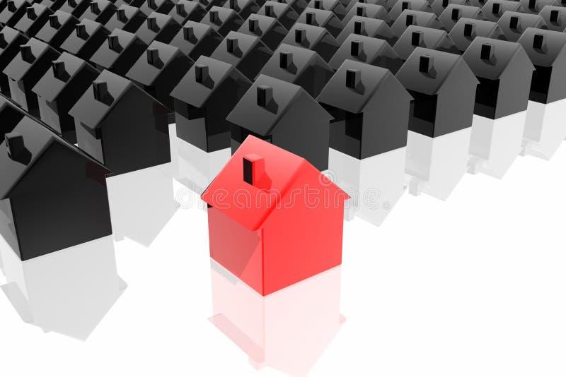 Seule maison rouge illustration de vecteur